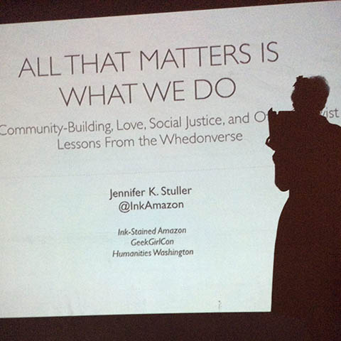 Jennifer Stuller gives the keynote talk at the Slayage Conference on the Whedonverses, California State University, Sacramento, 22 June 2014.